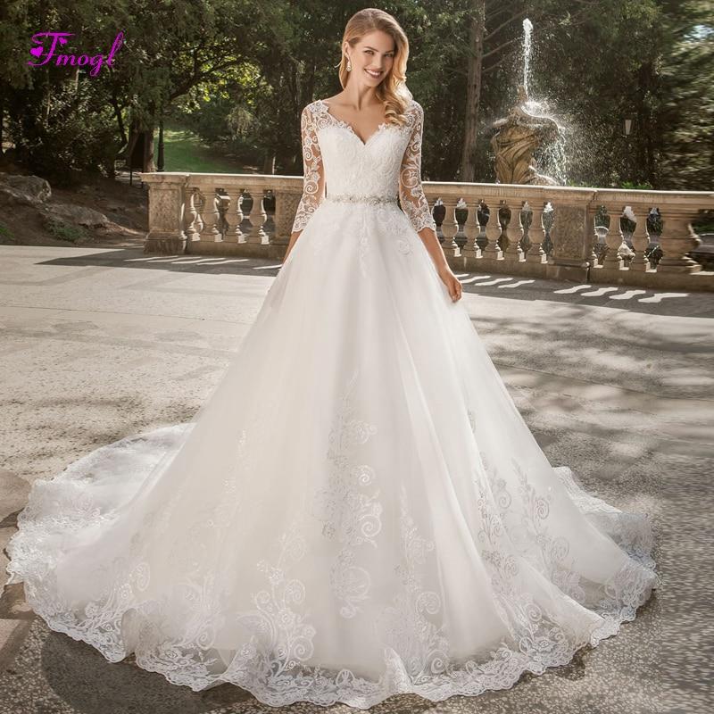 Fmogl Sexy Decote Em V Apliques Botão A Linha Princesa Vestido de Noiva 2019 de Luxo Cristal Caixilhos vestido de Noiva Vintage Vestido de Noiva