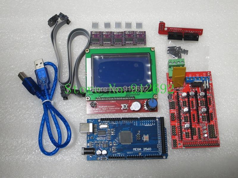 3D Printer kit 1pcs Mega 2560 R3 + 1pcs RAMPS 1.4 Controller+ 5pcs DRV8825 Stepper Motor Drive + 1pcs LCD 12864 controller