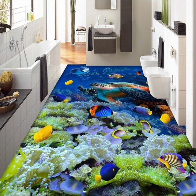 Benutzerdefinierte 3D Mural Boden Tapete Unterwasserwelt Korallen ...