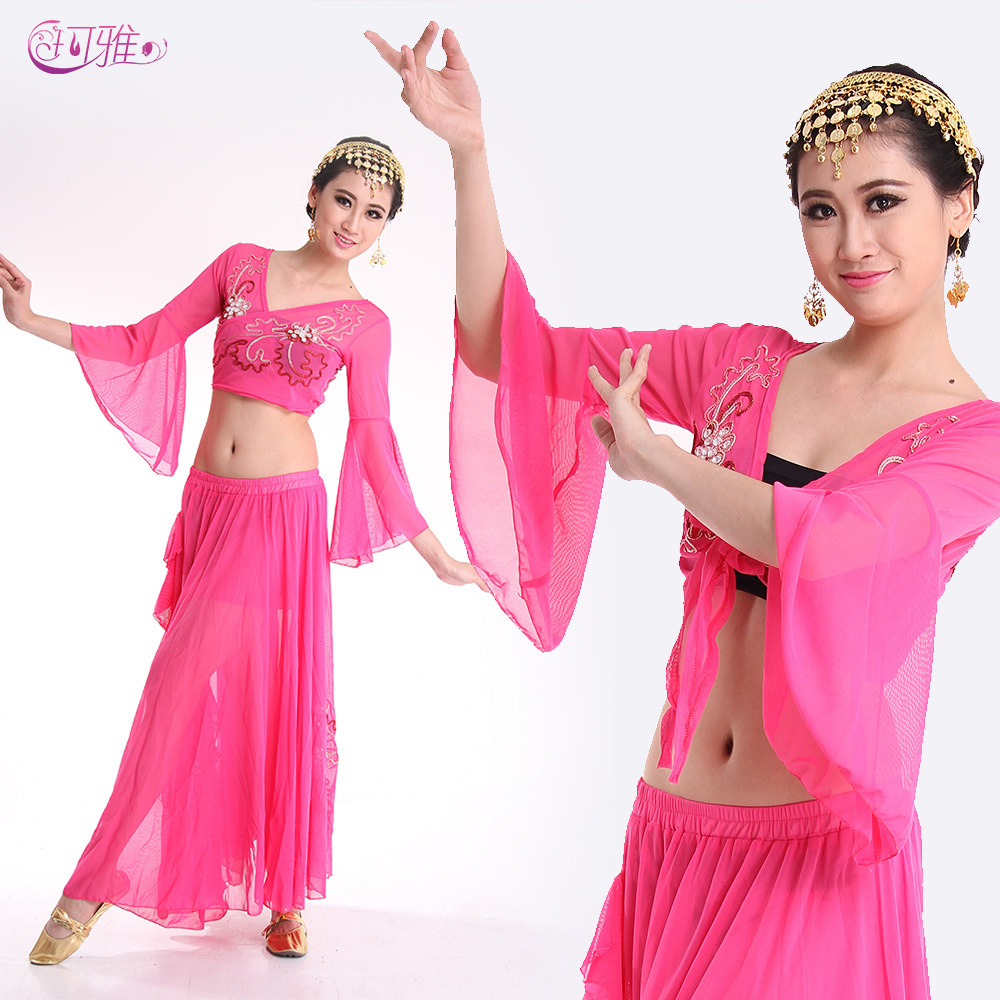 f0f327c3d78 Belly Dance Practice Costumes Beading Chiffon Top Skirt Danse Belly Dancing  Performance Square Dance Wear Beaded 6 Colors-in Belly Dancing from Novelty  ...