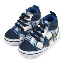 Полоса Лоскутное Дизайн Детская Обувь Хлопок Новорожденных Prewalker Высоким вырезом Мальчик Досуг Обувь 0-15 Месяцев