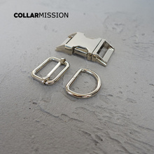 (metal buckle+adjust buckle+D ring/set) manufacturer high quality plated metal buckle silvery diy 25mm dog collars parts