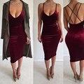 Top Sexy Бретельках Прямо Колен Бархатные Dress Cocktail Dress Клуб Dresss Bodycon Dress Women Dress Vestidos