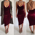 Top sexy spaghetti straps longitud de la rodilla recta velvet dress cocktail dress club dresss bodycon dress women dress vestidos