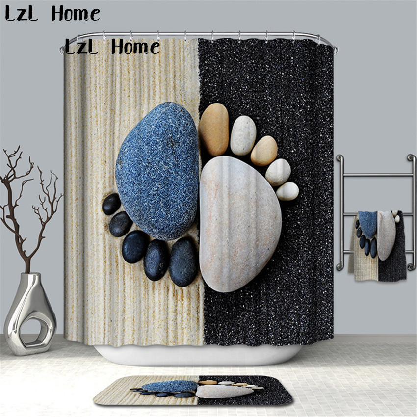 LzL Home 3D Fashion Stone Footprints Fireworks Shower Curtains Polyester Waterproof Bath Curtains With Hooks Bathroom Product zwbra shower curtain