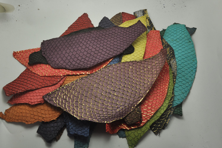 Genuine fish skin leather piece multi color DIY bag belt shoes accessories 4pc/lot 25x10cm mixed color
