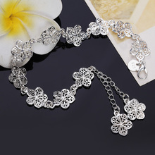 , Hot sale silver plated bracelet beautiful flowers for women classic high quality fashion jewelry wholesale JSH-lh013