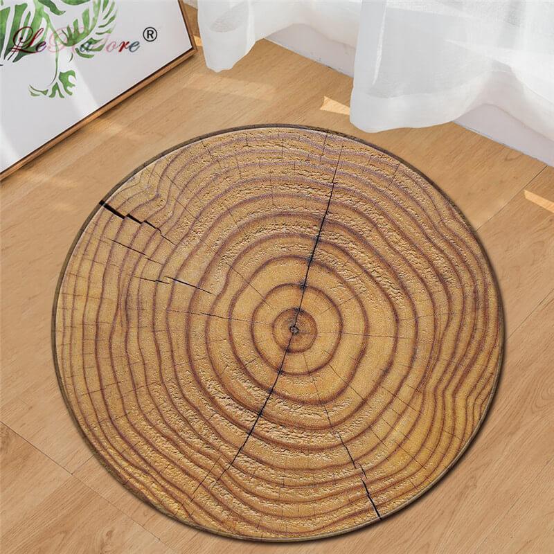 LeRadore 2018 New Round Carpet 3D Print Wood Soft Rugs Anti-slip Rug Dia. 80/95cm Computer Chair Mat Floor Mat for Kids