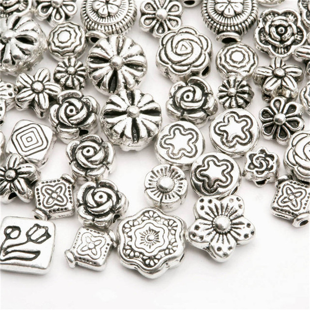 (70-80pcs) Mixed Silver Plated Flower Space Beads For Jewelry Making Bracelet Ne