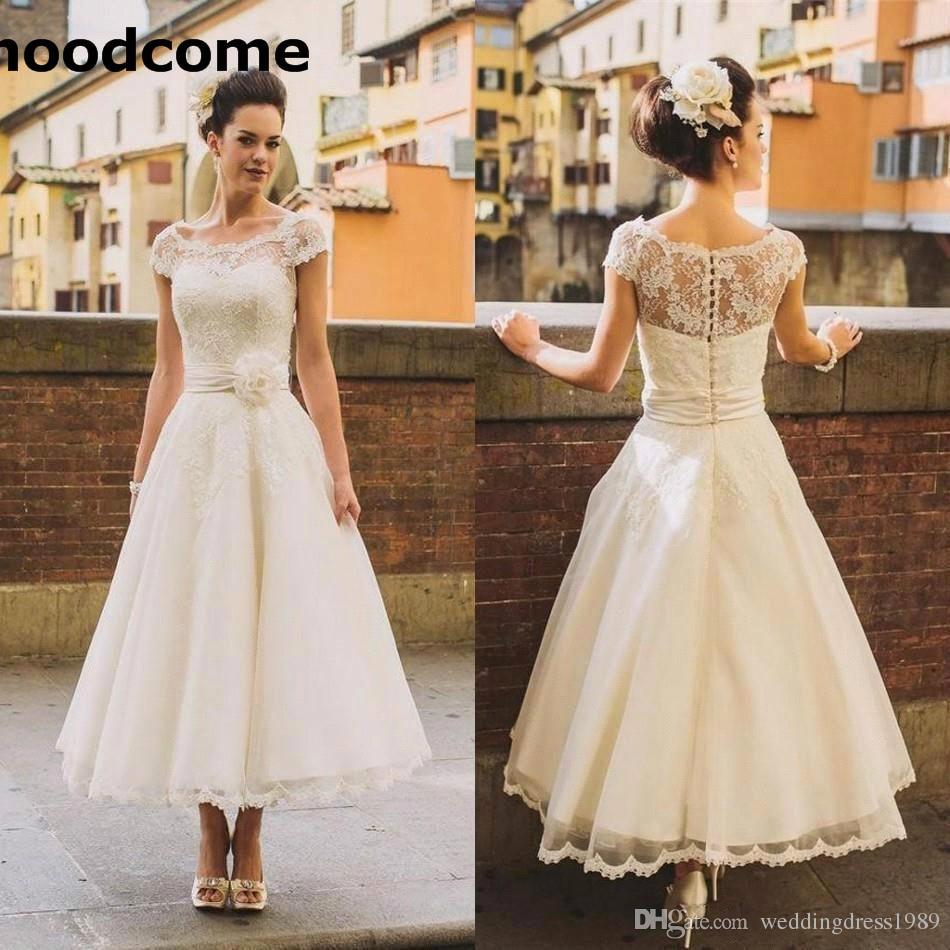Elegant 1950s Style Short Wedding Dresses Sheer Flower Sash Lace Cover Button Back Tea Length Bridal Gowns Formal