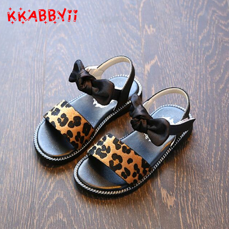 Girls Sandals 2019 New Summer Fashion Leopard Bowtie Kids Sandals Children Princess Flat Shoes Beach Sandals For Girls EU 21-36Girls Sandals 2019 New Summer Fashion Leopard Bowtie Kids Sandals Children Princess Flat Shoes Beach Sandals For Girls EU 21-36
