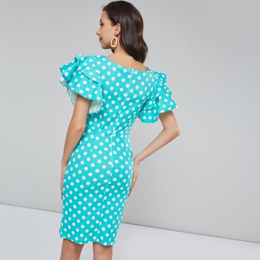 13a04c35de30 Women Bodycon Petal Sleeve Dress Blue Polka Dot Holiday Dresses Office Lady  Summer Vintage Elegant Ruffle Pencil Dress