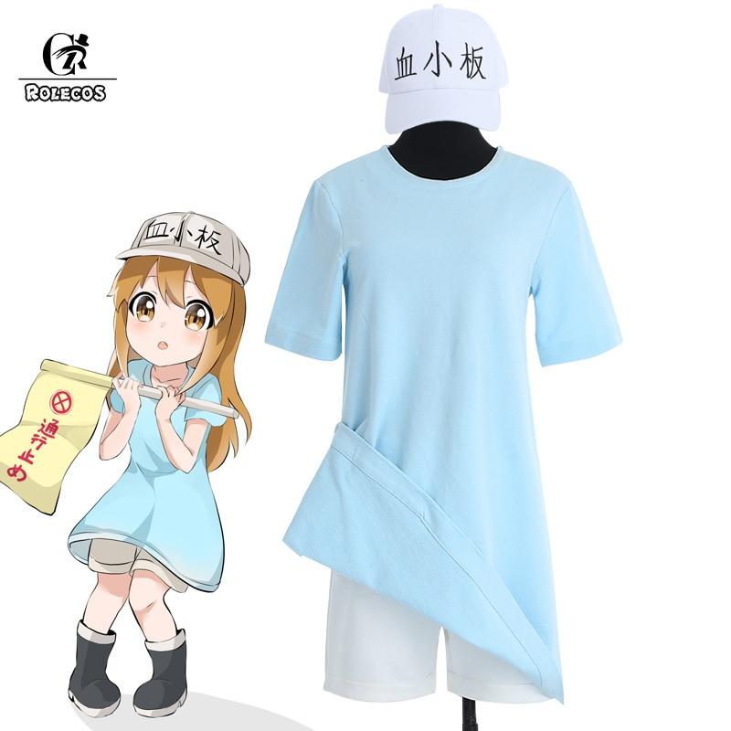 ROLECOS Anime Cells At Work Cosplay Costumes Hataraku Saibou Platelet Cosplay Full Set Shirt Shorts Hat for Women Girl Costume