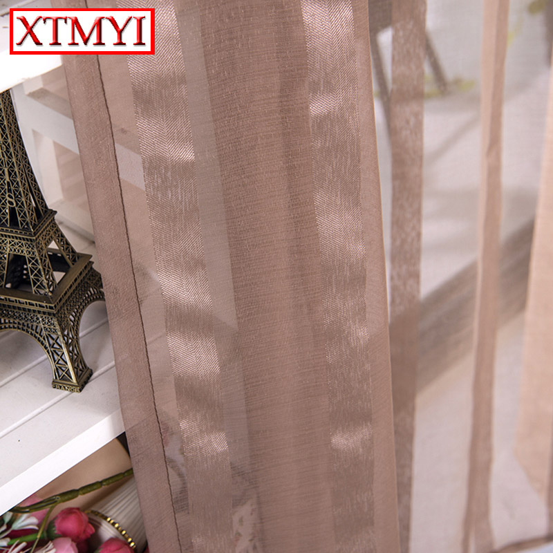 Online Shop Modern Window Tulle Curtains For Living Room Voile Brown  Striped Curtains For Bedroom Custom Drapes | Aliexpress Mobile