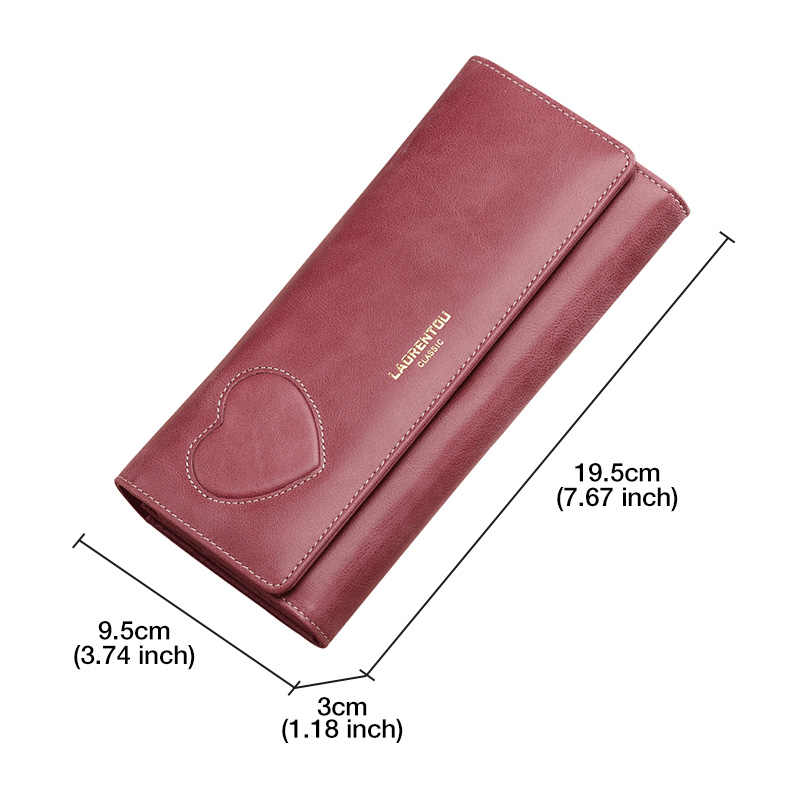 LAORENTOU Kadın Inek Deri el çantası Retro Uzun Cüzdan Kadın Basit Uzun Çanta Bayan Fermuarlı Telefon Çantası kart tutucu Debriyaj