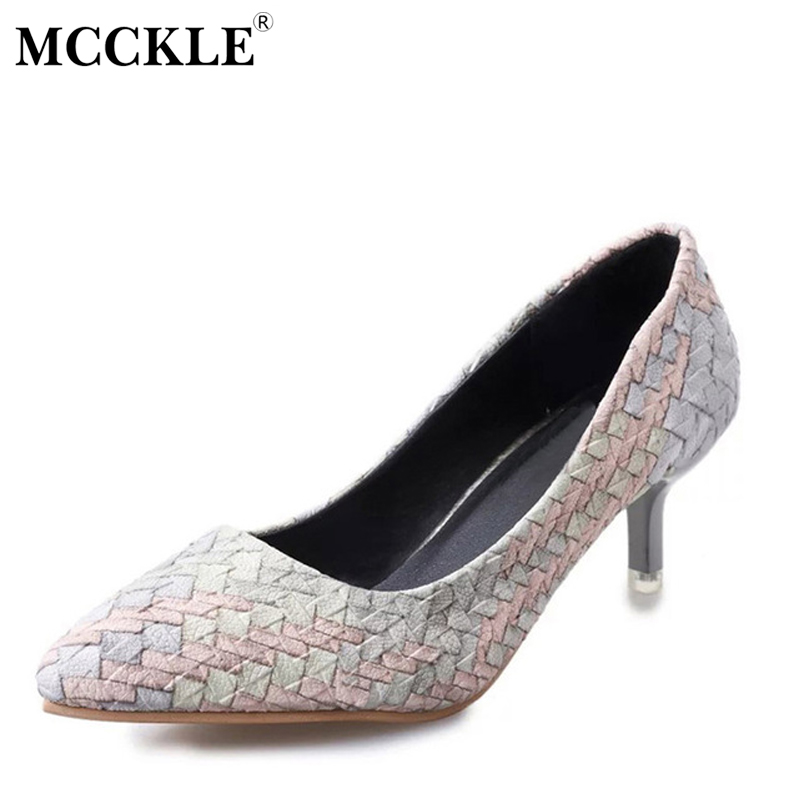 цена на MCCKLE Women Fashion High Heels Sexy Party Dress Pumps Female Straw Pointed Toe Slip On Shallow Shoes Woman Comfortable Footwear