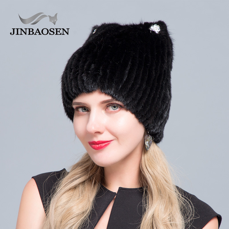 JINBAOSEN 2018 Winter women s mink fur knitted sweater hat new fashion cat ears style European