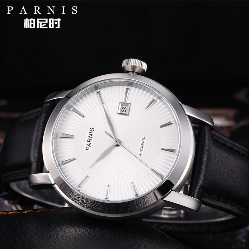 Image 3 - Mens Watch Relojios Dress Brand Mechanical Watches Parnis 41mm 21 Jewels Japan Sapphire Leather  Automatic Men Watch Wristwatch    -