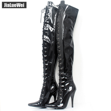 Jialuowei 12cm  High heels Ladies Black Patent Over Knee Thigh Boots Sexy Fetish Pointed Toe Stiletto Point Lace Up Shoes