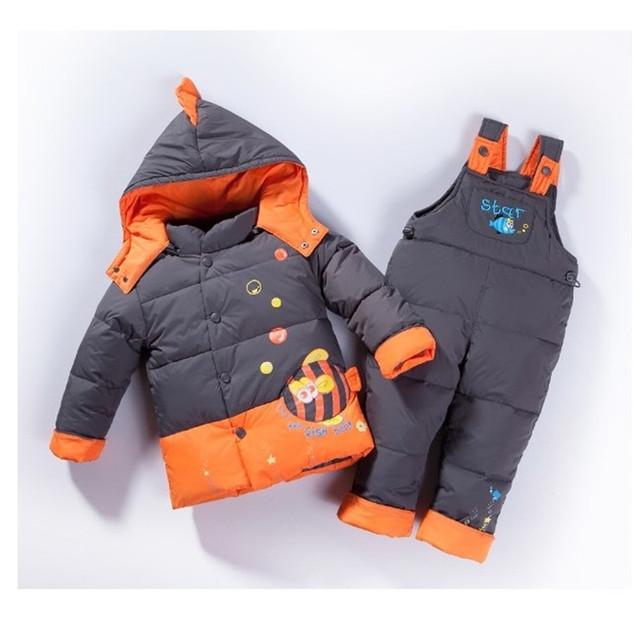 2016 Niños del bebé muchachas de los muchachos de invierno caliente abajo chaqueta de traje conjunto chaqueta gruesa capa + mono de la ropa del bebé fijada animales pez j09