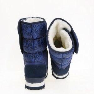 Image 4 - כחול כהה מגפי צבע ליידי נעלי חורף חם מדרסים שלג אתחול גודל גדול נחמד למראה בד עליון גומי וeva outsole לא להחליק