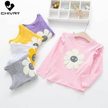 Chivry Spring Autumn 2019 Little Girls Long Sleeve Floral Flower O-Neck T-Shirts Kids Cotton T-shirts Casual Clothes