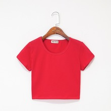 Summer Casual Solid Female Cotton T-Shirt Short Sleeve Round Neck T-Shirt High Waist Slim T-shirts for women Camiseta Mujer