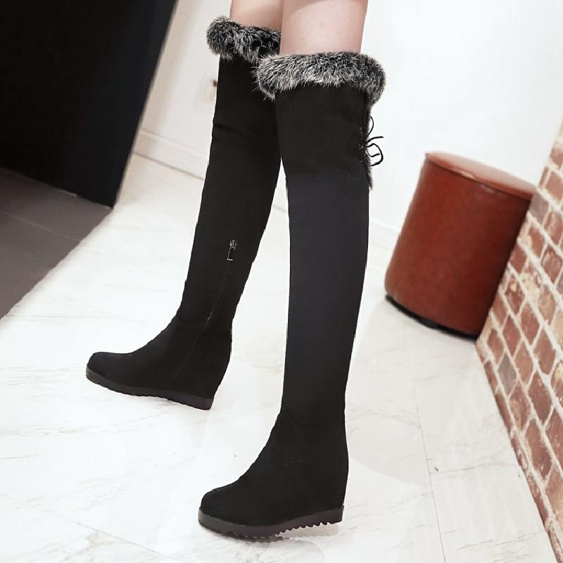 snow boots winter boots women over the knee boots sexy high boots fashion female wedges shoes size 42 free shipping 2017 &9560-9 free shipping khaki black women s winter nubuck leather sexy riding boots fashion tassel over the knee boots for women