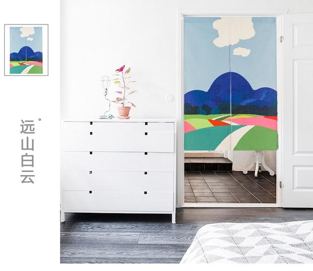 Style Japonais Coton Paysage Montagne Art Porte Rideau Décoration Suspendus  Chambre Salon Cuisine Bar Café Maison