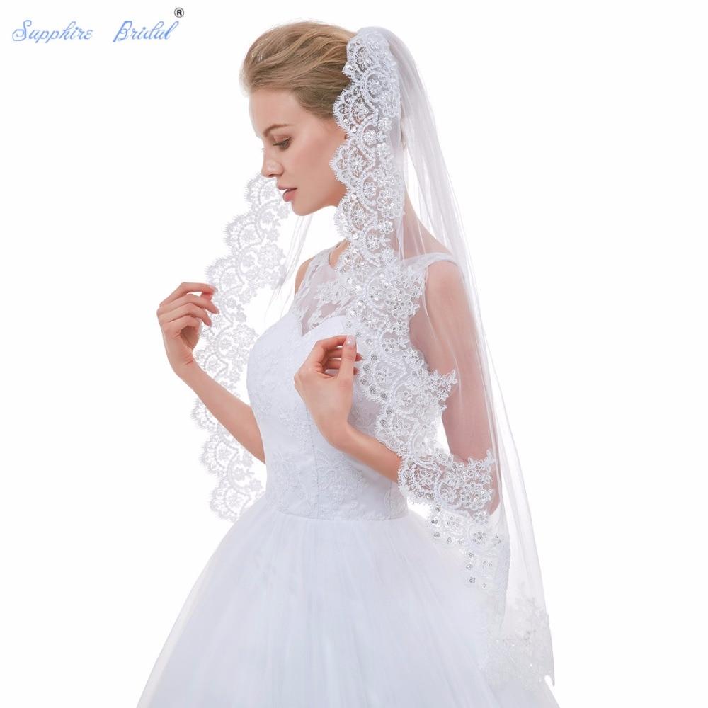 Sapphire Bridal 2018 New Arrival Stunning Lace Edge Wedding Veils Velo De Novia White Ivory Vintage Veils For Brides Hot Sale