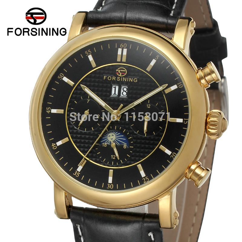 FSG553M3G2  luxury new arrival Automatic men watch black genuine leather strap with moon phase  free shipping with  gift box hot theme masonic freemason freemasonry g pocket watch men gift watch free shipping p1198