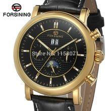 FSG553M3G2 роскошь новое прибытие Автоматические мужчины часы черный кожаный ремешок с фазы луны бесплатная доставка с подарочной коробке
