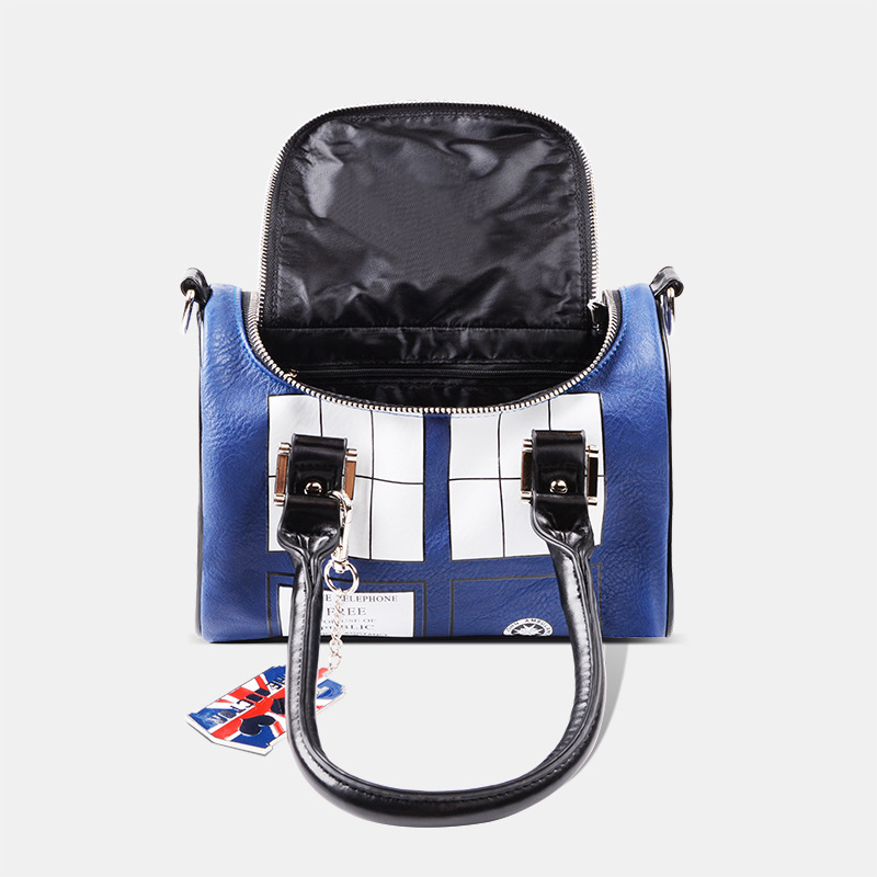Doctor Who Bag TARDIS Mini Satchel and Metal Charm Keychain Woman Navy Blue Police Officer Shoulder Handbag Handbag Lady Bag doctor who tardis adventure collection box set