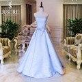 Haute Couture Light Blue Evening Dress 2016 Strapless Neckline Bondage Straps A Line Bow Knot Decoration Big Train Formal Gown