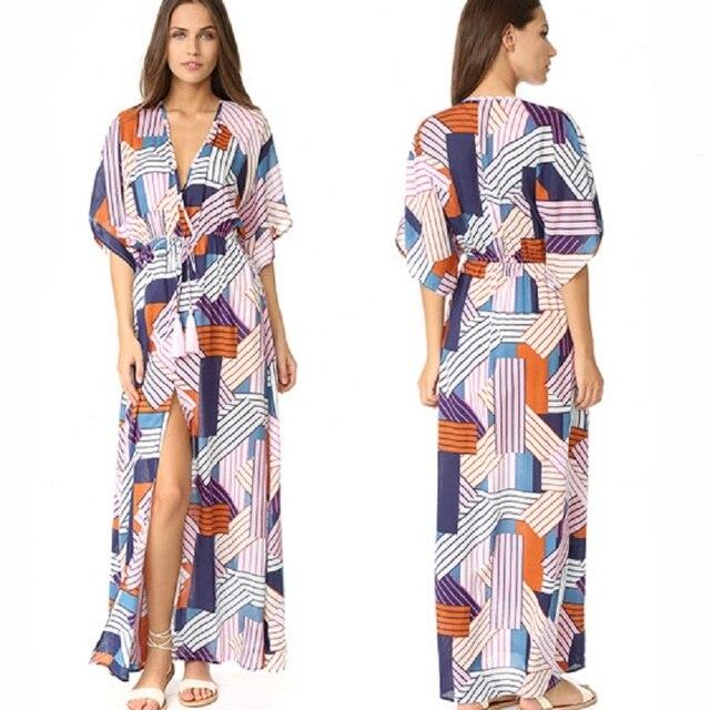 cc5d6882929c9 Women Loose Kaftan Swimsuit Cover up Beach Long Casual Caftan Dress ...