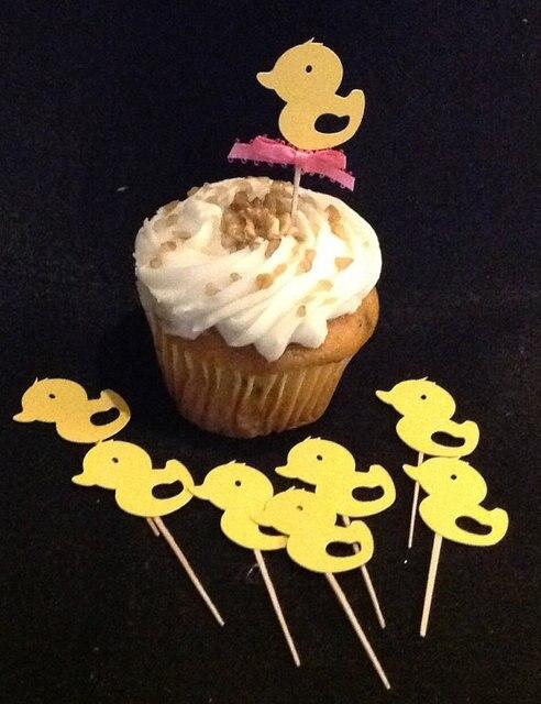 Cute Gender Neutral Baby Shower Yellow Duck Cupcake Picks Birthday Topper Wedding Party Cake