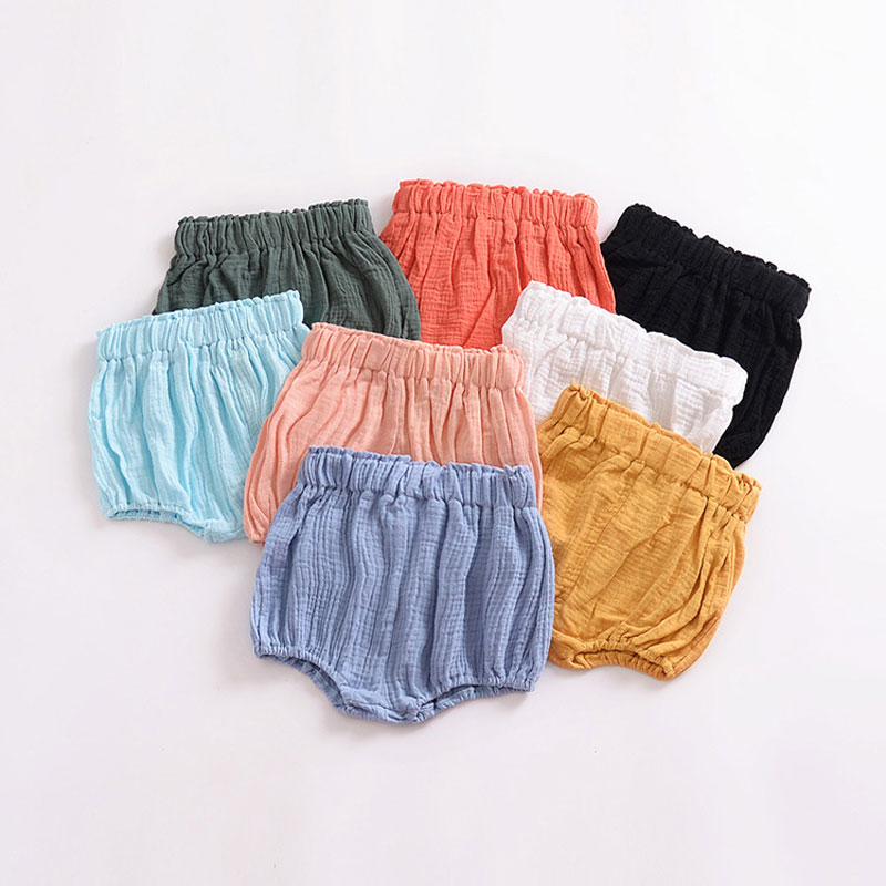 0-5Y Newborn Baby Bloomers Shorts PP Pants Cotton Linen Triangle Solid Girls Summer Toddler