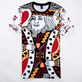Лето стиль хип-хоп рубашка мужчины / женщины игральные карты принт 3d t рубашка creative одежда camisa masculina размер M-XXL