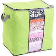 Foldable Clothes Pillow Blanket Closet Underbed Storage Bag Organizer Box Bags Transparent Window for Clothing/Quilt