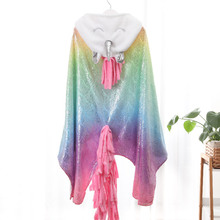 Confort Unicornio Flannel Gilding Printing Gold Stamping Hooded Blanket Camo Fabric  Fleece Blankets Vs Pink Fairy Tale Anime