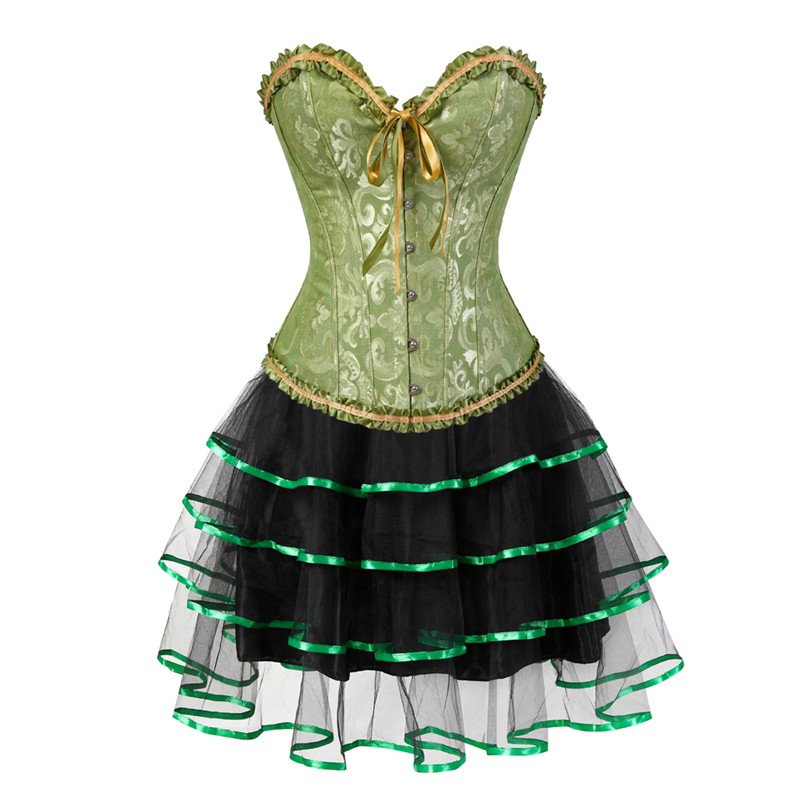 Burlesque   Corset   Dress Sexy   Corset   and   Bustiers   with skirt Plus Size Victorian   Corset   Dresses Showgirls Clubwear Costume Green