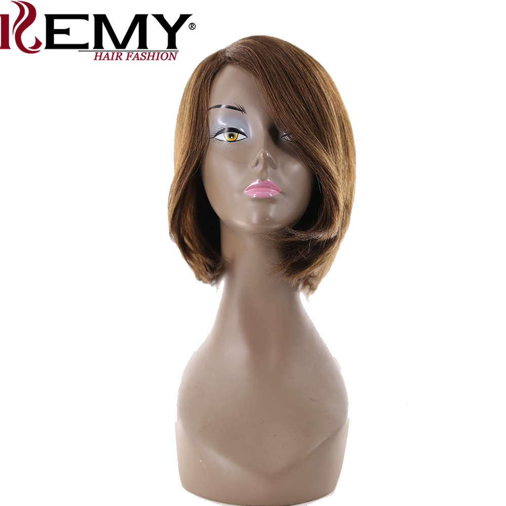 KEMY HAIR Short Human Hair Wigs Non-remy Side Part Shoulder Length 10