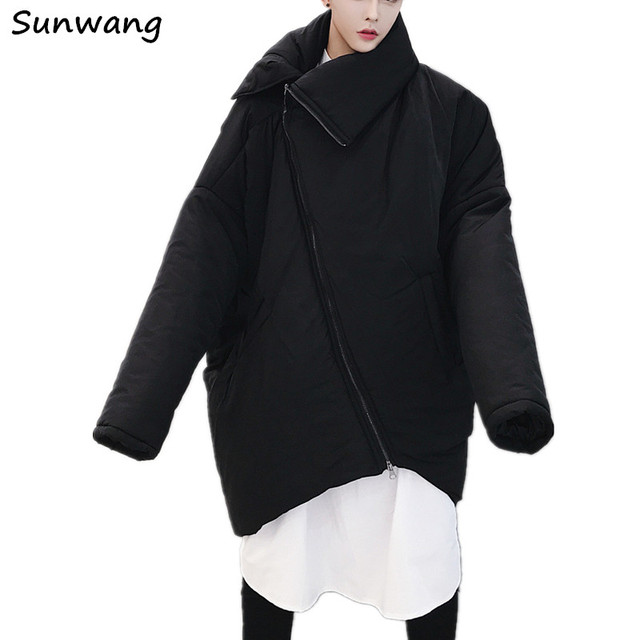 13b7e0723b2f 2019 Harajuku Fashion Gothic Unique Design Warm Padded Long Parka Winter  Jacket Men Coat Asymmetric Oversized