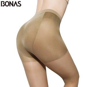 Image 4 - BONAS Designer Seamless Collants Dété Femmes Slim Sexy Noir Mince Nylon Collants Pour Les Filles Plus La Taille Femelle En Gros