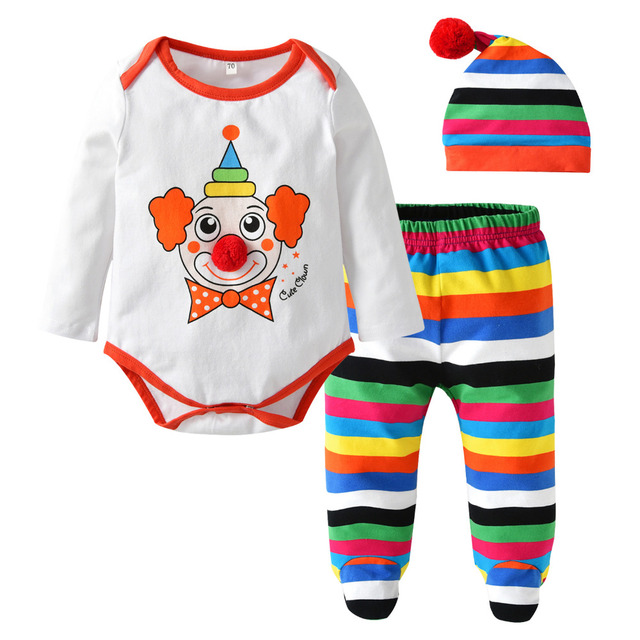 0cddc8b3a Bebé recién nacido Ropa manga larga payaso impresión Romper + Color Stripe  pantalones + sombrero infantil