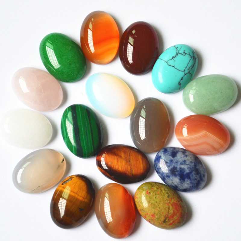 New 2018 Fashion mixed natural stone onyx Malay Tiger Eye Opal Malachite Oval CAB Cabochons Ring face 18*13mm 20pcs
