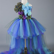 New Baby Girls Trailing Peacock Tutu Dress Tulle Feathers Flowers Girl Dresses Kids Girls Party Wedding Birthday Pageant Dresses