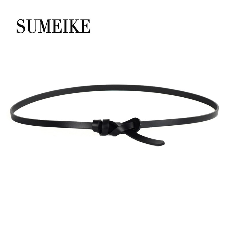 [SUMEIKE] 100% Real Leather Thin   Belt   For Dress Woman Hiqh Quality Fashion Luxury Female   Belt