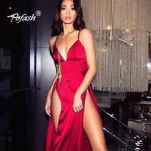 Women Sexy Satin V Neck Spaghetti Strap Sleeveless Vestidos High Split Long Dress Club Party Dress