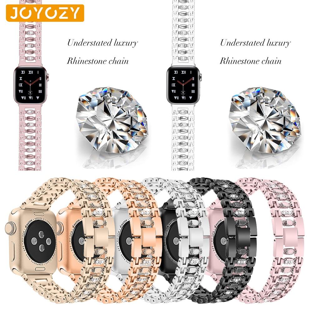 Joyozy Stainless Steel Strap Women Diamond Apple Watch Band 38mm/42mm Band IWatch Bracelet Accessories For Apple Watch 4/3/2/1